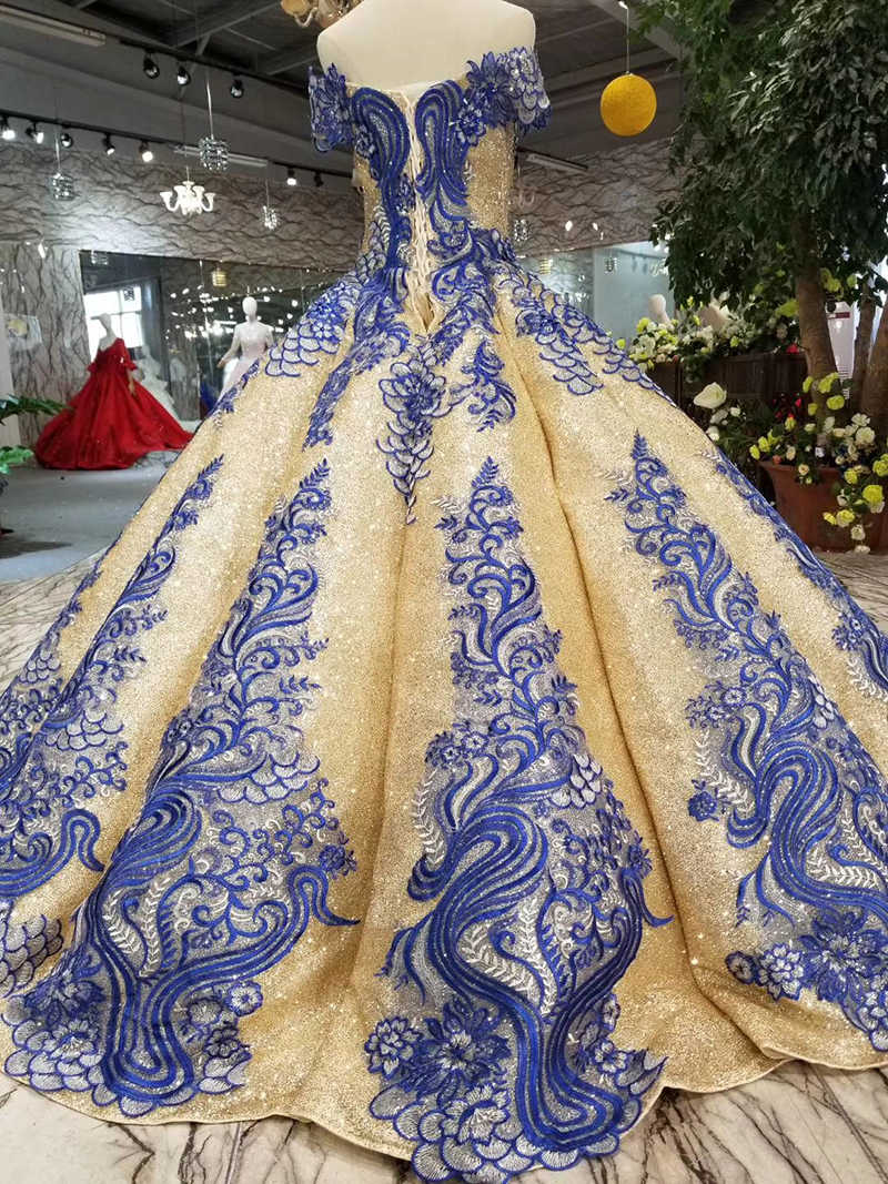 LSS282 goldene frauen anlass kleider mit blau appliques weg von der schulter prom kleid ballkleid abendkleider damen luxus