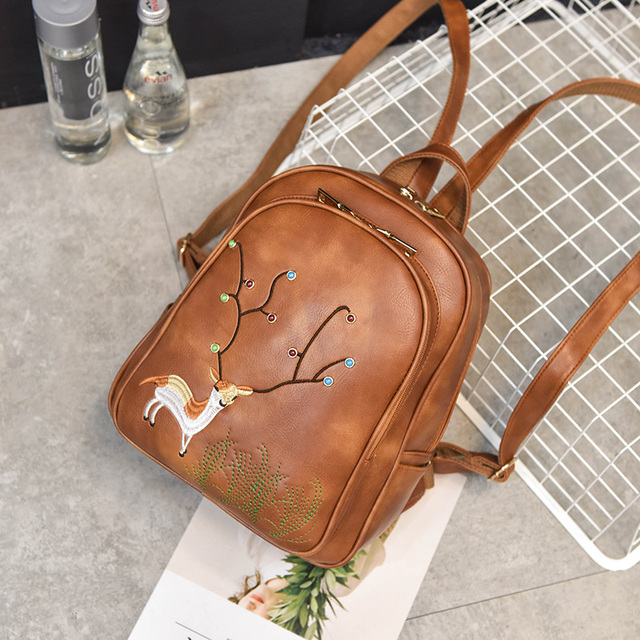 Fashion Women Backpack For Girls 2017 Cute Little deer embroidery Leather women backpack in high quality 972