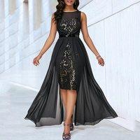 Summer Sexy Club Elegant Party Black Women Long Dresses Plus Size Mesh African Office Ladies Vintage Female Fashion Maxi Dress