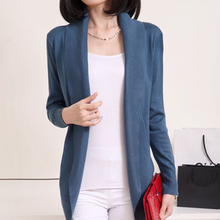 BONJEAN spring autumn women's knitted cardigan long cardigan coat solid sweaters shawl for ladies plus size thin blusa tricot