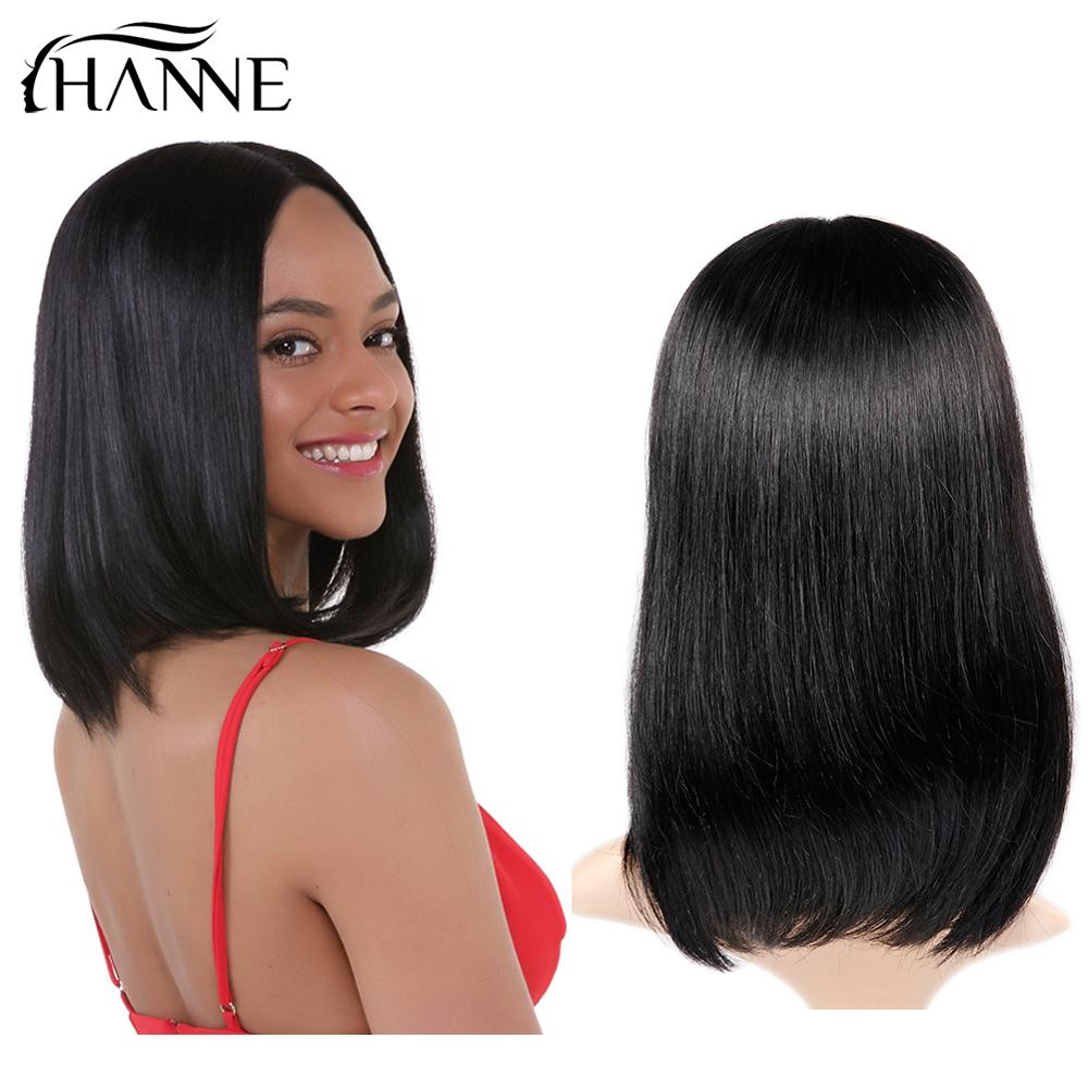 HANNE Lace Front Human Hair Wigs For Black Women Natural Black Pre Plucked 150 Density Straight