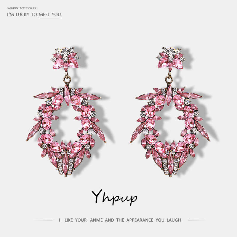 Yhpup Brand Luxury Pink White Rhinestone Water Drop Dangle Earrings Bohemian Fashion Charm Statement Earrings Women Oorbellen