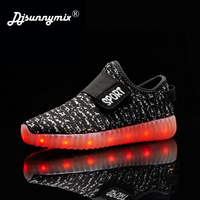 DJSUNSUNNYMIX Children Shoes With Light Boys And Girls Casual LED Shoes Kids LED Light Up USB 7 Colors Kids air mesh Shoes 25 37