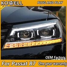 KOWELL Car Styling dla VW Passat B7 reflektory 2011 2012 2015 ameryka Passat CC LED reflektor DRL soczewki biksenonowe wysoka martwa wiązka