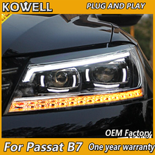 KOWELL รถยนต์สำหรับ VW Passat B7 ไฟหน้า 2011 2012 2015 อเมริกา Passat CC LED ไฟหน้า DRL Bi Xenon เลนส์ High Beam