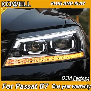 Image 1 - KOWELL รถยนต์สำหรับ VW Passat B7 ไฟหน้า 2011 2012 2015 อเมริกา Passat CC LED ไฟหน้า DRL Bi Xenon เลนส์ High Beam