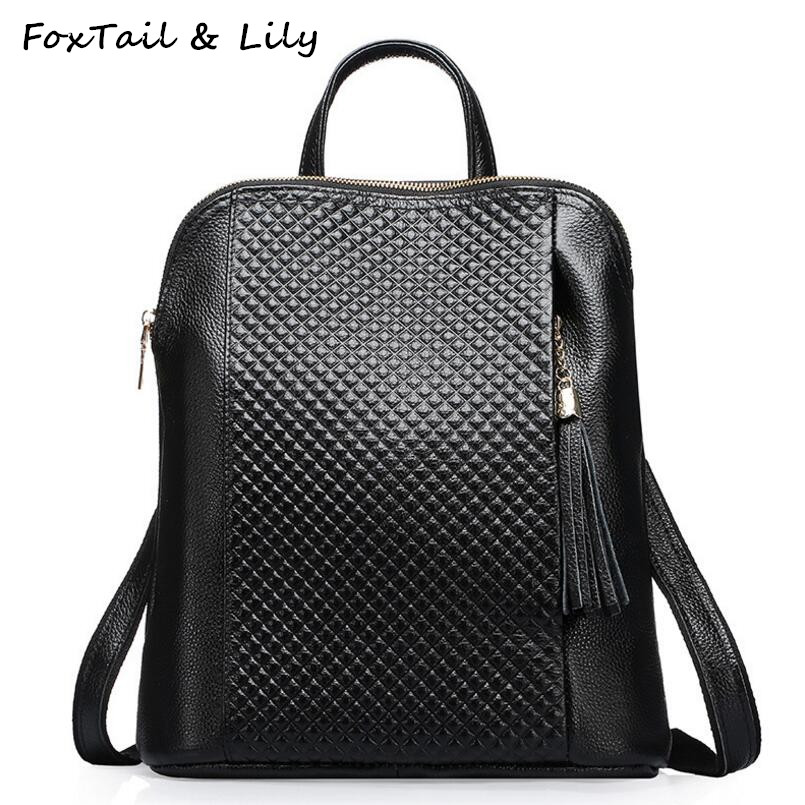FoxTail & Lily Fashion Plaid Design Women Genuine Leather Backpack Tassel One Shoulder Bag Double Shoulder Bag Travel Backpacks burgundy one shoulder frill layered design jumpsuit
