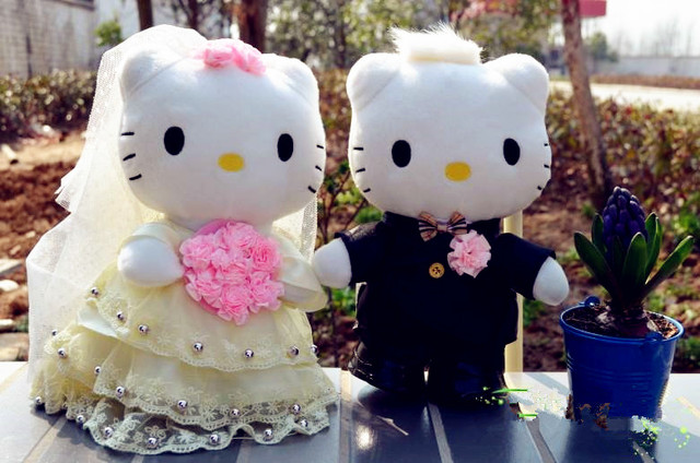 30cm Yellow Lace Design Hello Kitty Wedding Cake Topper Plush Toys For Decoration Car