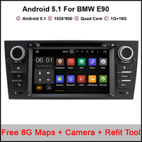 Quad Core 1024*600 Touch Screen Car Stereo for BMW E90 Android 5.1 DVD E91 Wifi 3G GPS Bluetooth Radio SD DAB Canbus Free Camera