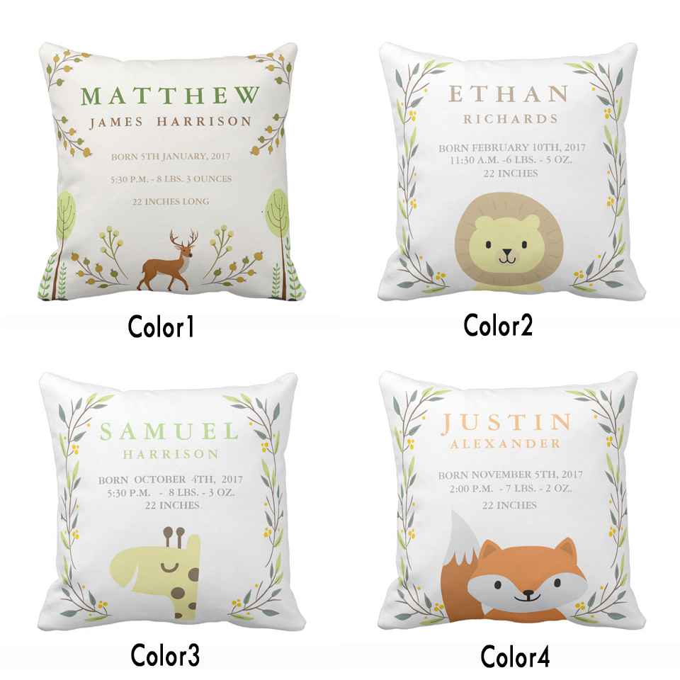 Us 6 62 20 Off Custom Woodland Forest Birth Stats Baby Nursery Throw Pillow Cover Home Decorative Cotton Polyester Cushion Covers Gift In