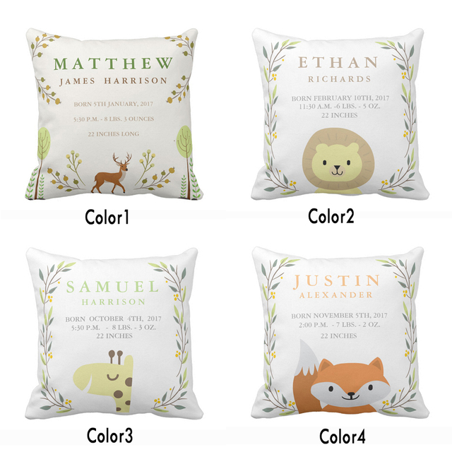 Custom Woodland Forest Birth Stats Baby Nursery Throw Pillow Cover Home Decorative Cotton Polyester Cushion Covers Gift