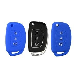 Image 4 - OkeyTech silikonowa obudowa na kluczyk samochodowy pokrywa dla Hyundai Tucson Solaris odwróć składany zdalny Auto klucz 3 przyciski osłona na brelok od kluczy