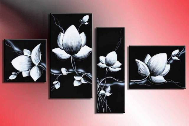 hand painted modern wall art fly In black white flowers home ...