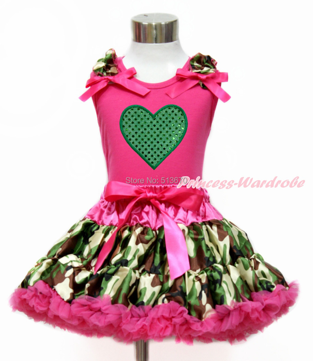 Valentine Green Heart Hot Pink Top Shirt Camouflage Baby Girl Pettiskirt 1-8Y MG1203 пылесос thomas inox 1520 plus 786182