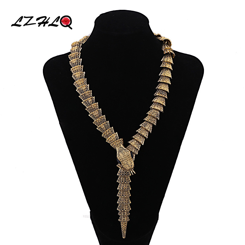 LZHLQ Vintage Snake Choker Statement Necklace Women Zinc Alloy Necklaces Pendants Trendy Collares Collier Jewelry women