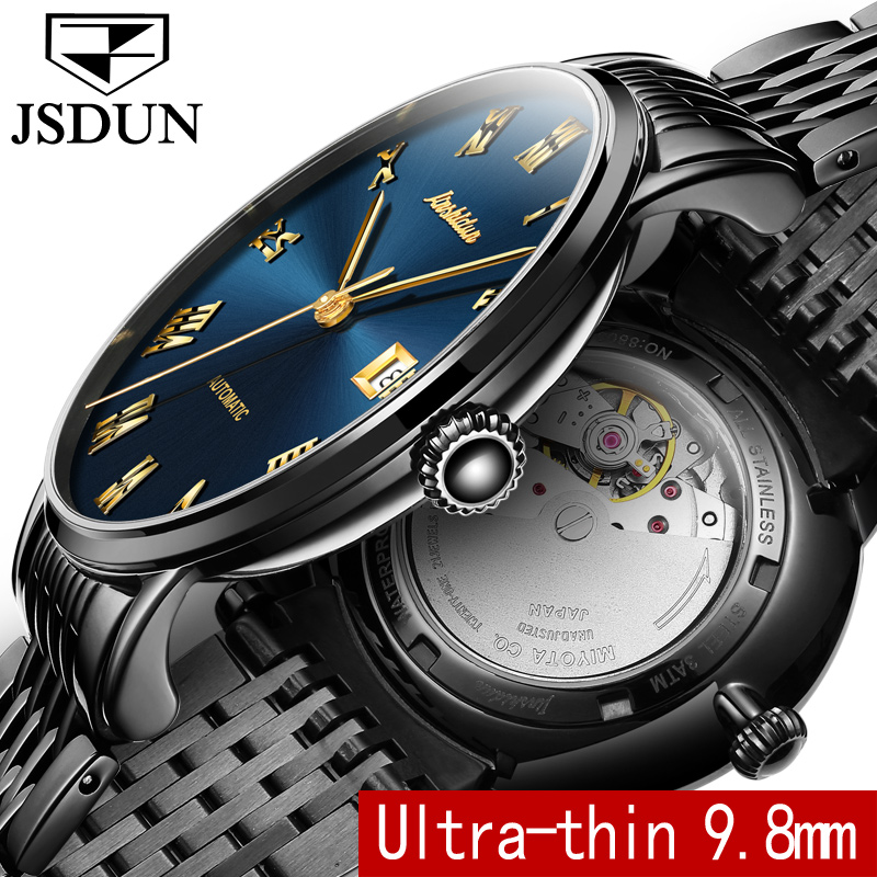 JSDUN Luxury watches men Stainless steel Automatic ultra thin mechanical wrist watches Sapphire waterproof multifunction watch 2017ailang luxury brand new ultra thin automatic mechanical watches is simple and stylish men watch sapphire watch steel