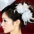 Невесте головного убора цветок корсаж, В, Цветок запястье, Кружева волосы перья с
