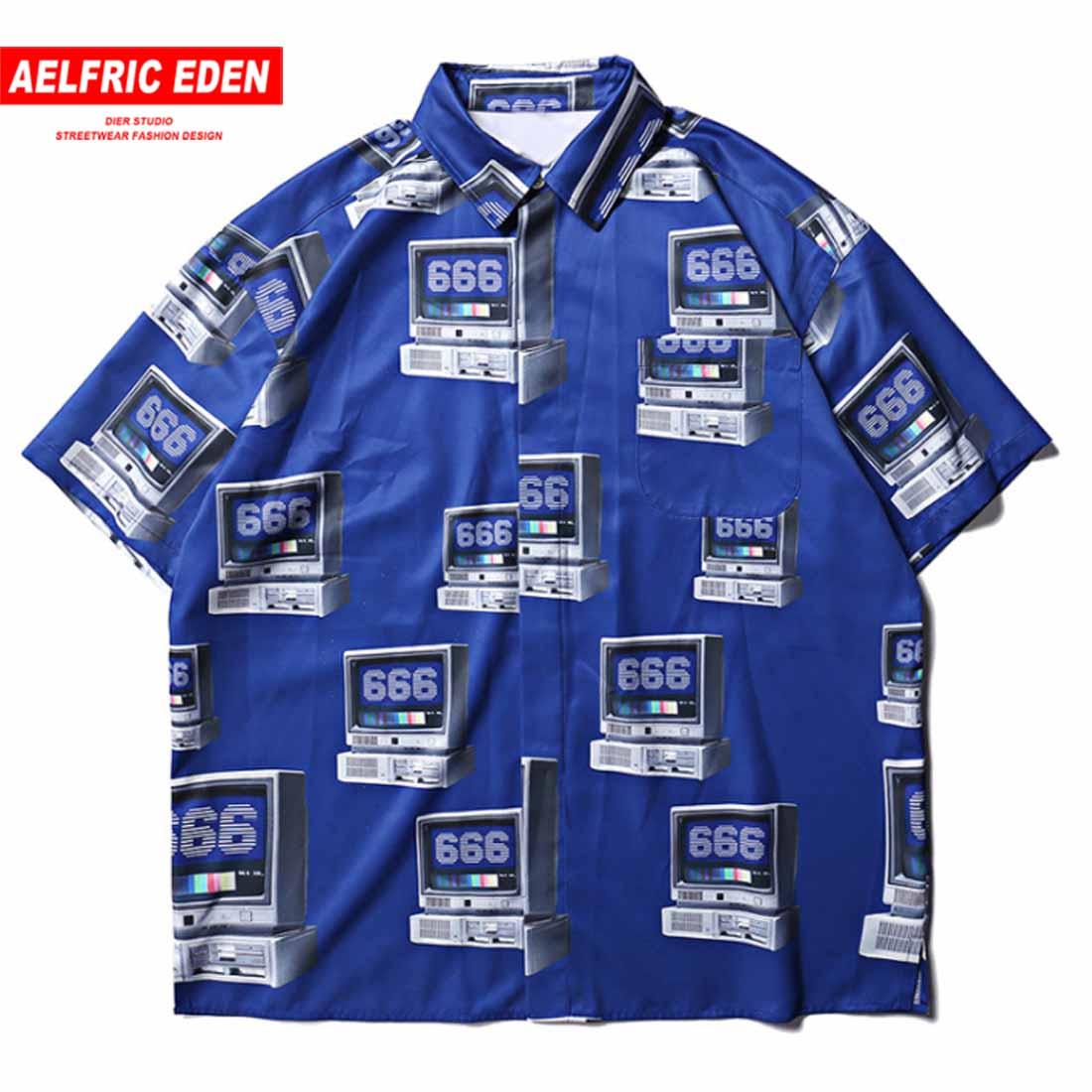 Aelfric Eden модная Гавайская Праздничная компьютерная печатная хип хоп забавная Мужская рубашка Harajuku Повседневная Уличная одежда Chicago платье р