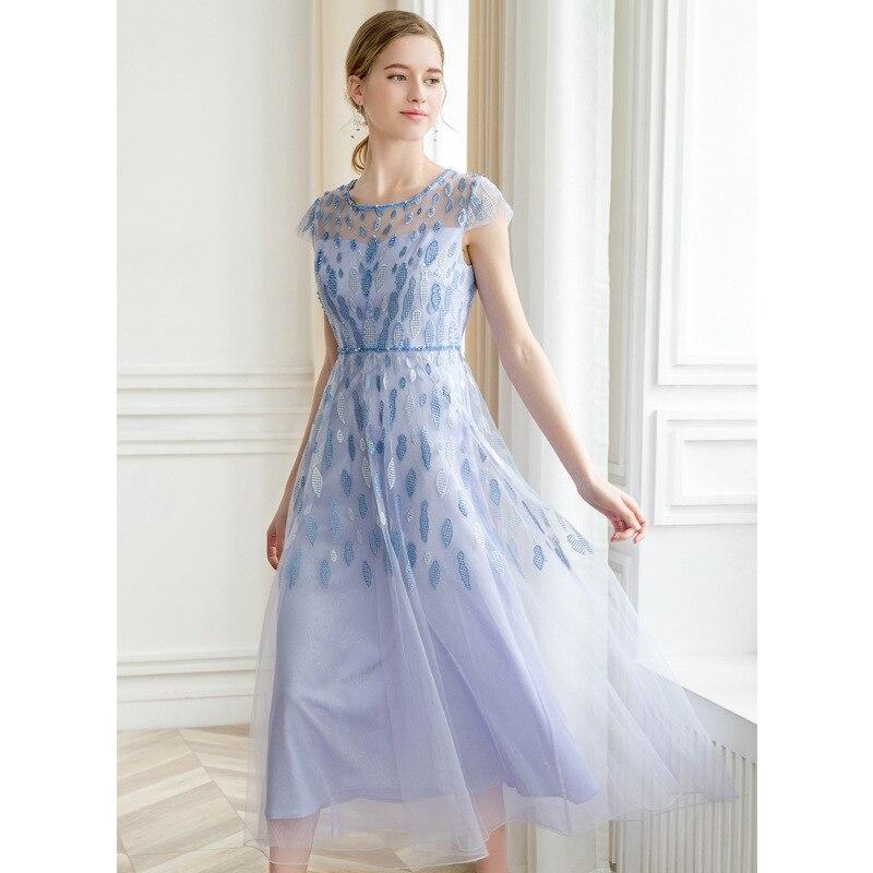 GEJIAN синий длинное платье Новая Летняя мода невесты для женщин вышитый тюль бисер Maxi dress Vestidos вечерние Sukienki