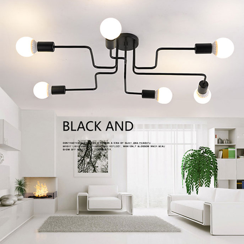 Novelty Ceiling Lights Luminaire Vintage Light Iron Pipe Lamparas De Techo Led E27 Luminaria Lamp Decoration Lighting Fixtures noosion techo modern led crystal ceiling lamp for bedroom novelty ceiling lamp fixture luminaria for children indoor decoration