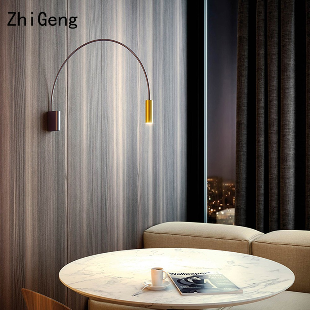 ZhiGeng G10 Geometric Semicircular Wall Lamp Bedside Corridor Aisle Living Room Nordic Rotating Indoor Lighting Fixture Lights