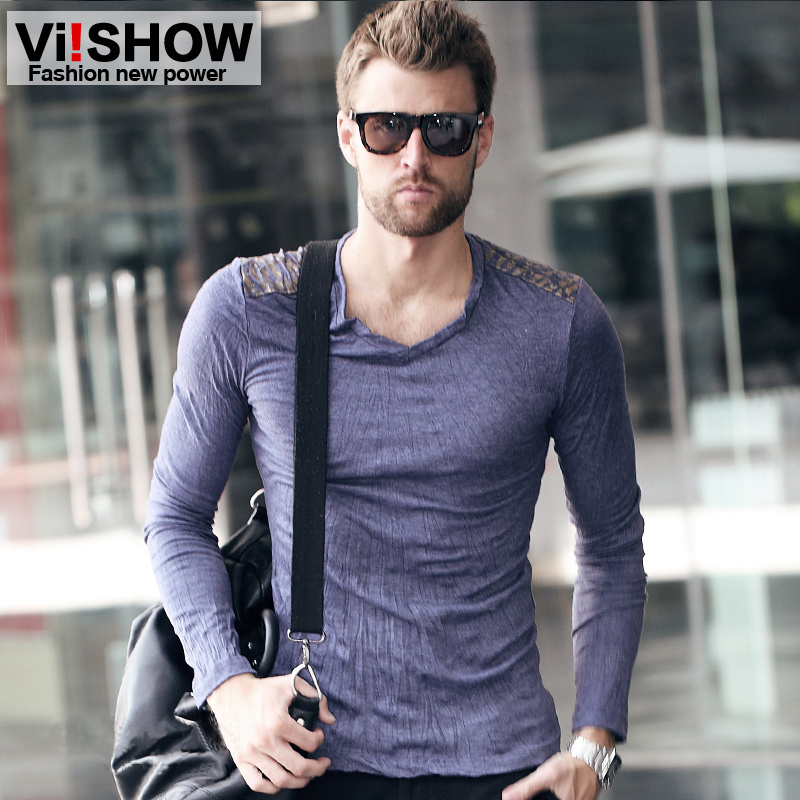 viishow long t shirt men brand navy blue gray fashion designer ...