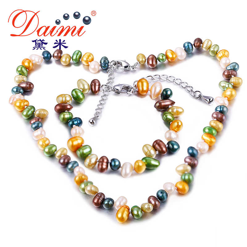 DAIMI Multi Color Freshwater Pearl 5-6mm Cultured Pearl Sets Necklace+Bracelet+Silver Earrings Jewelry Set Nice Gift For Girls