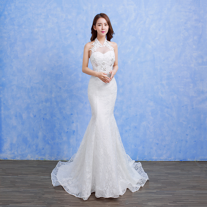 Real Photo Helter Nneck Beautifull Wedding Dress Sexy Blackless Mermaid wedding Bridal Gowns Vestido De Novia