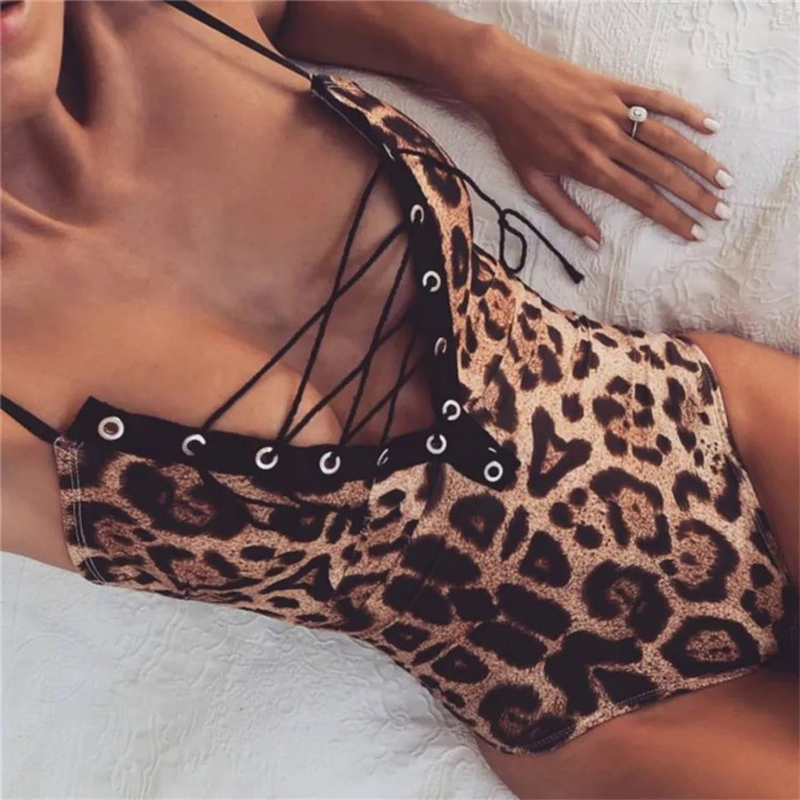 CFYH Ladies Club Sexy Jumpsuit Leopard Bodysuit Women Skinny Lace Up V Neck Bandage Bodycon Playsuit Overalls Backless