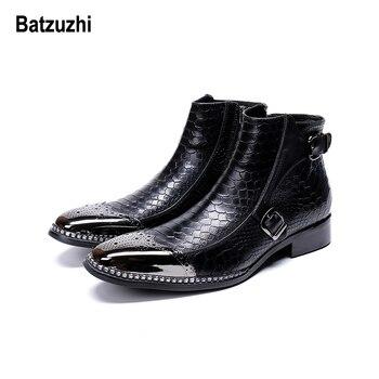 Batzuzhi Rock Western Boots Men Metal Tip Safety Ankle Leather Boots Men Party, Runway Dress Boots for Men zapatos de hombre, 12