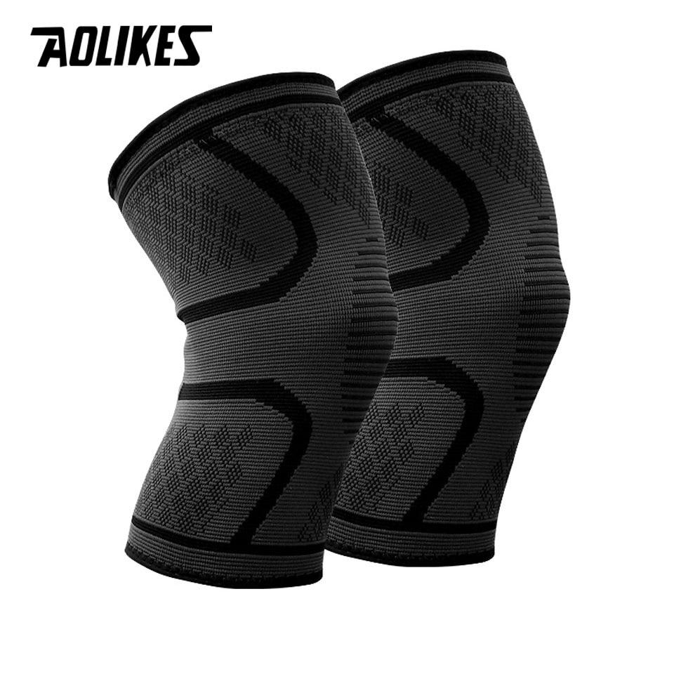 1 par de Nylon elástico de deportes almohadillas transpirable rodilla soporte corriendo Fitness senderismo ciclismo Protector de la rodilla Joelheiras
