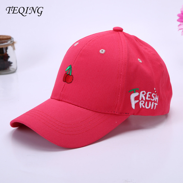 TEQING 2017 New Arrival Korean Version New Small Cute 3D Fruit Embroidery  Women s Curved Eaves Hat 05aac90abd8