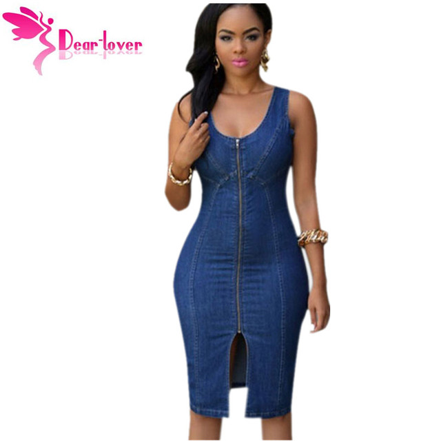 90f932ea70 Dear-Lover denim dresses women Robe Jeans Fashion Faddish Sleeveless Denim  Gold Zipper Front Midi Dress Vestidos Jeans LC60659