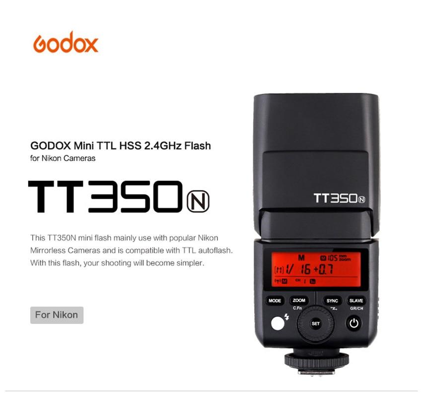 Godox TT350N Mini 2.4G Wireless TTL Camera Flash Master & Slave Speedlite 1/8000s High Speed Sync for Nikon Camera