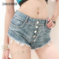 Danjeaner Bf Style Women Hole Destroyed Ripped Low Waist Jeans Denim Shorts Hot Solid Button Tassel Shorts Summer Short Mujer