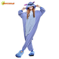 Free Shipping KIGURUMI Pajama Anime Cosplay Onesie Costume Adult Unisex Party Cartoon Dress Blue Stitch