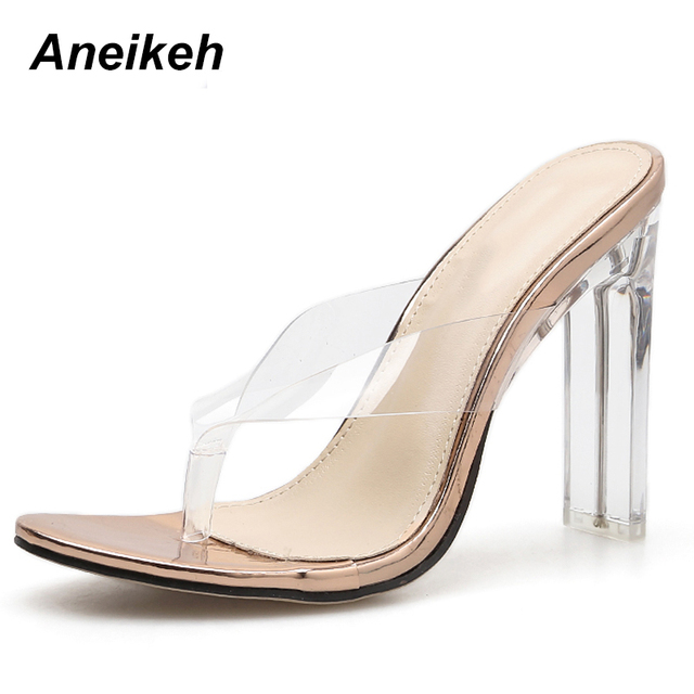 Aneikeh 2019 Summer Shoes Women PVC Crystal Flip Flops Gladiator Pumps Sexy Clear High Heels Classic Dress zapatos mujer Slipper