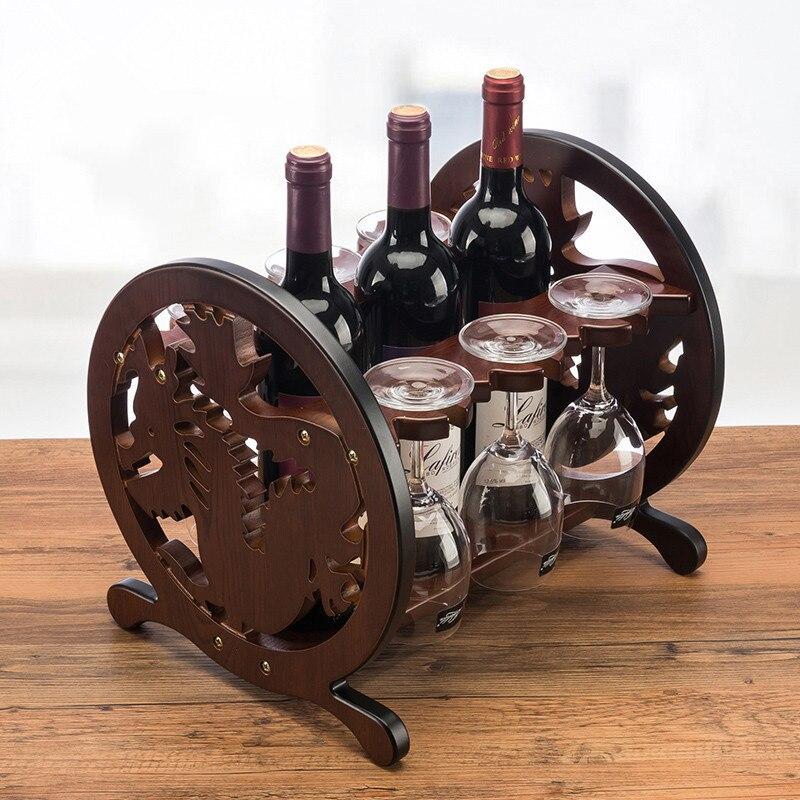 Créatif douze signes du zodiaque chinois Dragon vin rouge en bois rouge porte-vin trois bouteilles titulaire