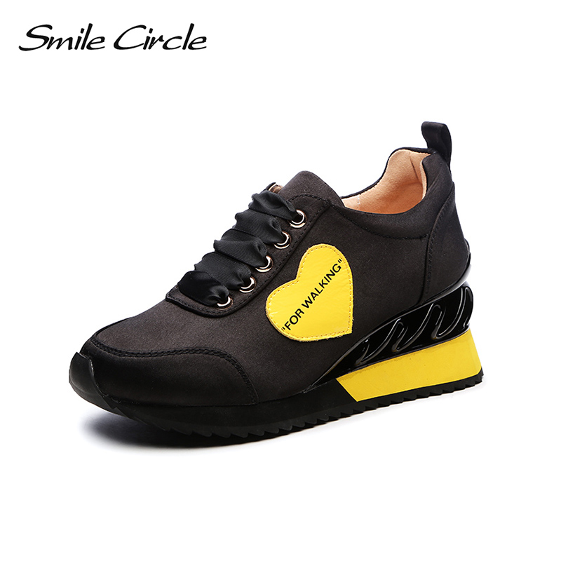 Smile Circle 2018 New Spring Wedges Sneakers Women Fashion Lace-up Platform Shoes For Women Flat Platform Casual Shoes A98A308-2 beffery 2018 new fashion sneakers women genuine leather lace up flat platform shoes for women fashion star casual shoes a1md701