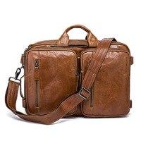 Сумка Для мужчин 14 дюймовый ноутбук сумка из натуральной кожи Портфели Для мужчин плечо Сумочка через плечо большой Повседневное Винтаж Back