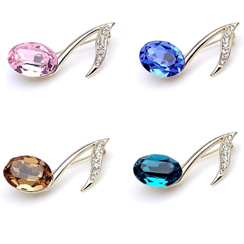 Alloy Metal Music Note Design Brooches Cubic Zirconia Crystal Brooches Fashion Jewelry Bijoux Feminino Accessories