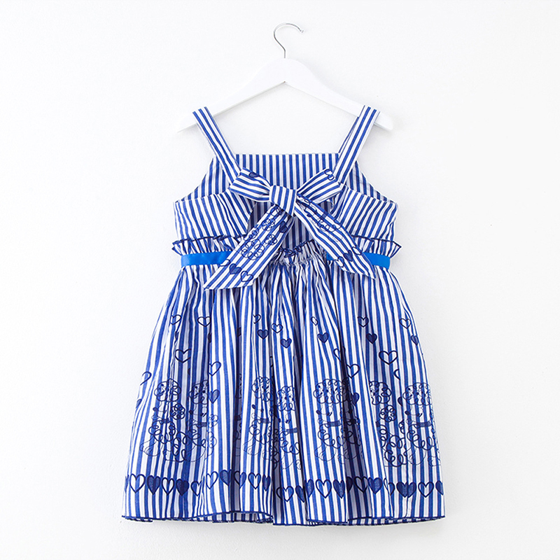 Summer Baby Girls Clothing Children Cotton Dress Kids Striped Print Sleeveless Beach Style Casual Preppy Style 4y-12y