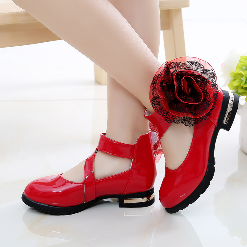 2019 New Girls Flower Princess Shoes Party DressNew Fashion Big Girls Student Leather Kid Shoes 3 4 5 6 7 8 9 10 11 12 Year Old