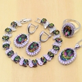Rainbow Fuego místico Creado Topacio Pendientes de Sistemas de la Joyería de Las Mujeres 925 Joyas de Plata/Colgante/Collar/Anillos/pulsera T200