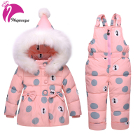 Girls Sports Suit Winter Children Girl Clothing Sets Down Parkas Romper With Fur Hooded Tracksuit For Girls Windbreaker For Girl