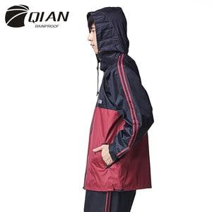 Image 4 - QIAN RAINPROOF Professionalผู้ใหญ่กลางแจ้งRainsuitซ่อนRainhatแฟชั่นMulti Functionalหนาเสื้อกันฝนคุณภาพสูง