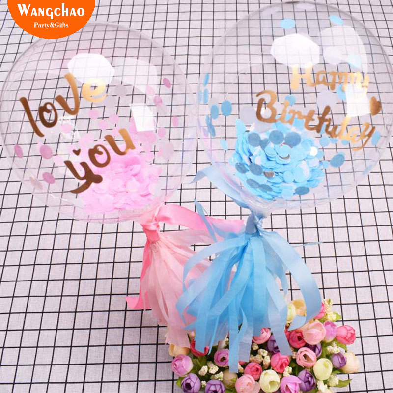 Blue Pink Happy Birthday I Love You Balloon Cake Topper Birthday Party Cake Decoration Kids Favors Gifts Baby Shower Decora in Cake Decorating Supplies from Home Garden