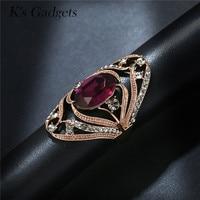 Wedding Engagement Rings For Women Luxury Blue Green Purple Crystal Cubic Zirconia Titanium Gold Rhinestone Long
