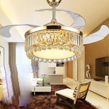 Kipas Angin Langit-langit Lampu LED Crystal 110-220 V Fan 42 Inch/108 Cm Remote Control 3 Suhu Warna gratis Shooping Kipas Angin Langit-langit Lampu