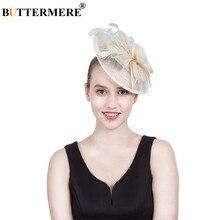 90f52acf77b9 BUTTERMERE Linen Fedora Hat Women Beige British Wedding Bride Hat Ladies  Feather Elegant Flower Church Female Brand Pillbox Hats